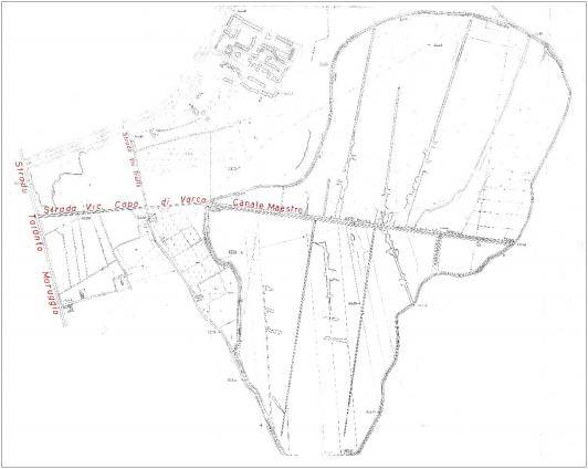Rilievo dei canali di bonifica della Salinella eseguito nel '57